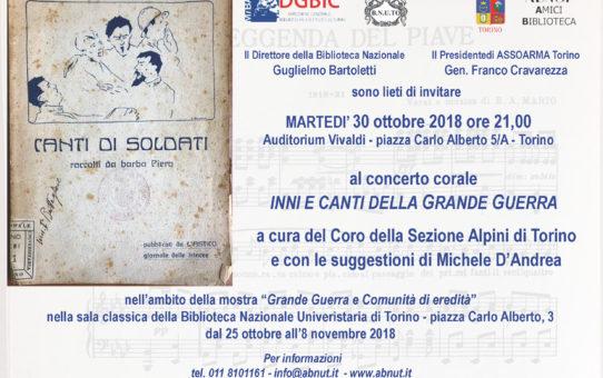 30/10/2018 INNI E CANTI DELLA GRANDE GUERRA